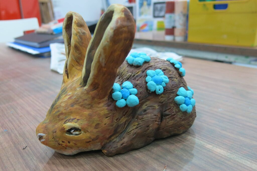 6) Clay rabbit inspired by Kohei Nawa