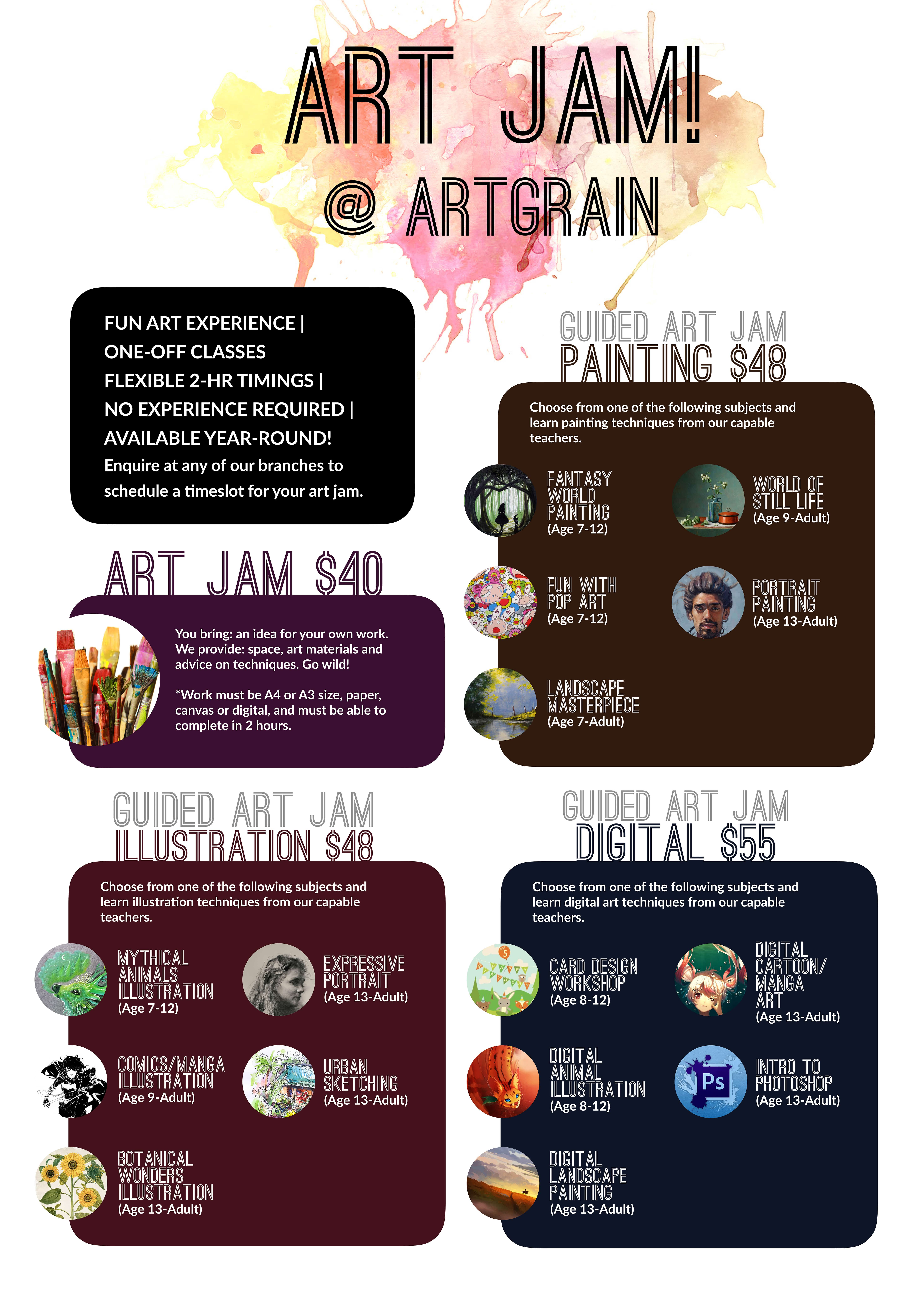 Art Jam Leisure Art Workshops for Children, Teens and Adults