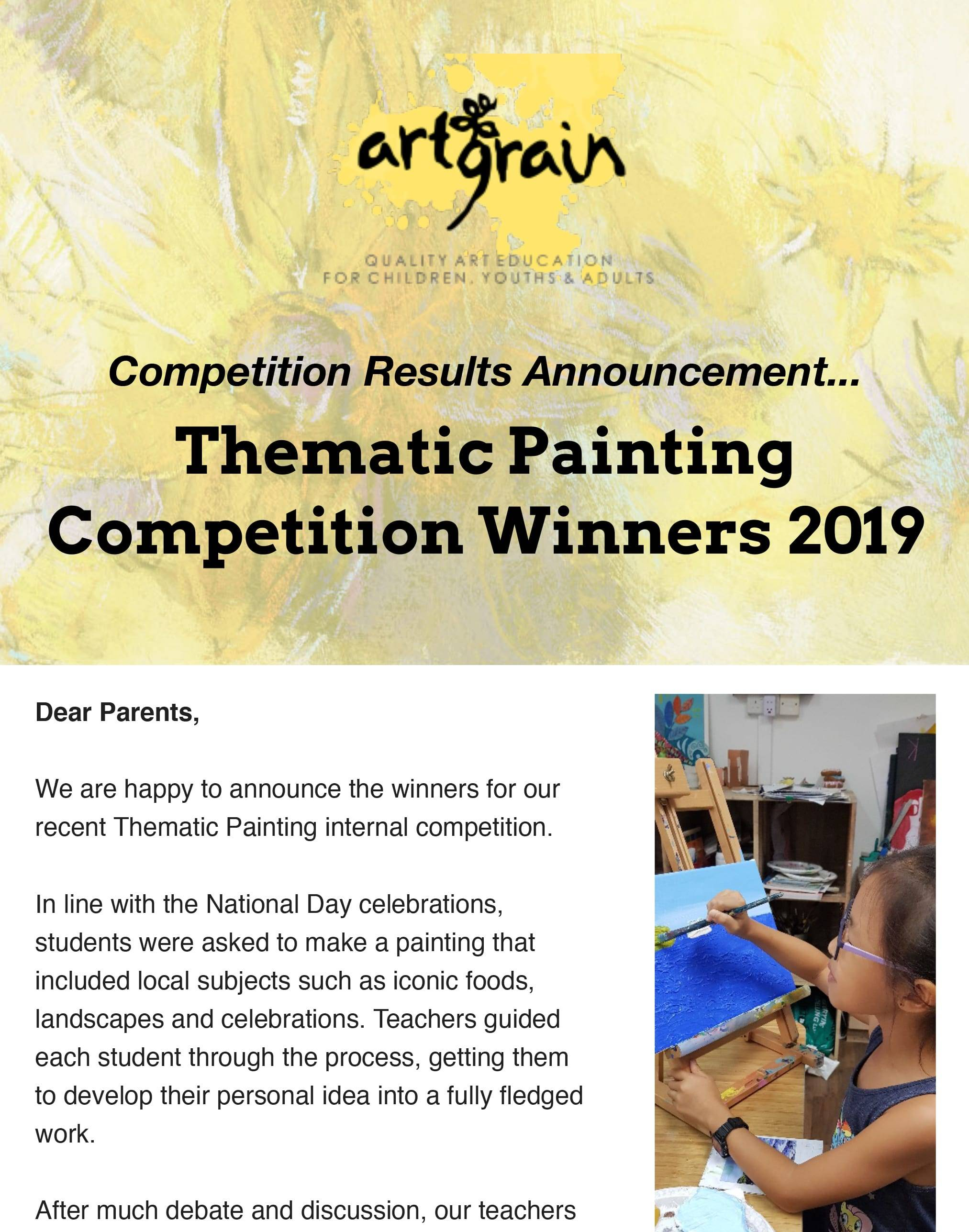Thematic Painting Competition Winners 2019